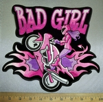 4381 CP - Bad Girl Biker Chick Doing Wheelie On Motorcycle - Embroidery Patch