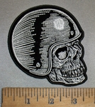 4383 N - Helmet Wearing Skull Face - Right Side - Embroidery Patch