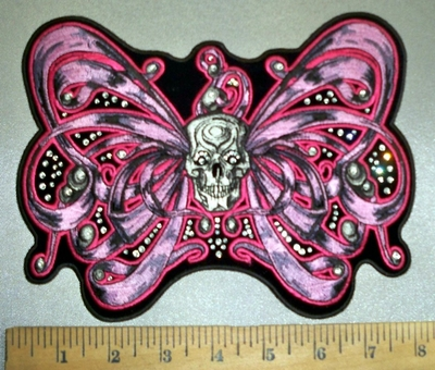 4385 G - Rhinestone Bling Ribbon Winged Butterfly With Skull Face - Embroidery Patch