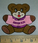 4391 S - Teddy Bear -  Pink T- Shirt - Biker Kid - Embroidery Patch