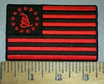 4393 CP - Don't Tread On Me Snake - Red And Black American Flag - Embroidery Patch