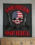 4405 CP - American Infidel - With American Flag Skull Face And 2 Guns - Embroidery Patch