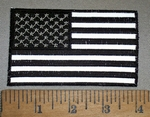 4406 CP - REFLECTIVE - Black And White 4 Inch American Flag - Embroidery Patch