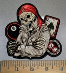 4413 CP -  Skull Man With Red Crossbone Bandana - 8 Ball - Ace of Spades - Dice - Embroidery Patch