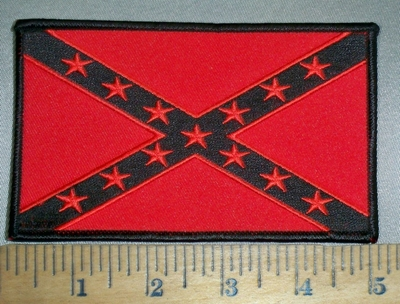 4417 S - 5 Inch Red And Black Confederate Flag - Embroidery Patch