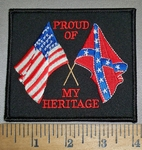 4418 S - Proud Of My Heritage - American Flag - Confederate Flag - Embroidery Patch