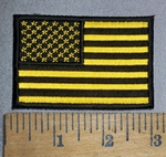 4439 CP - Yellow And Black American Flag - Embroidery Patch