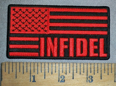 4490 CP - S - Infidel - Red And Black American Flag - Embroidery Patch