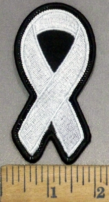 4493 S - White Ribbon - Lung Cancer - Embroidery Patch