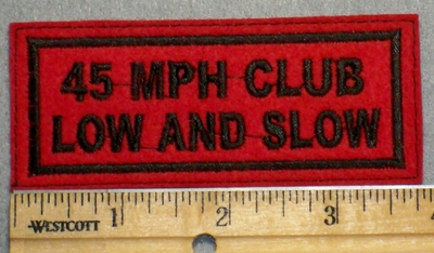 2229 L - 45 MPH Club Low And Slow- Red Background - Embroidery Patch