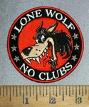 4507 CP - Lone Wolf - No Clubs - Wolf - Round - Embroidery Patch
