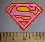 4509 C - Superman Logo - Pink And Yellow - Embroidery Patch