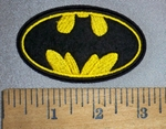4511 C - Batman Logo - Yellow And Black - Oval - Embroidery Patch