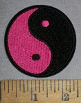4518 C - Yin And Yang - Pink And Black - Round - Embroidery Patch