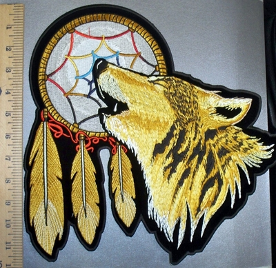 4537 CP - Howling Wolf With Dream Catcher - Back Patch - Embroidery Patch