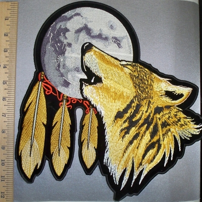 4538 CP - Howling Wolf With Moon Dream Catcher - Back Patch - Embroidery Patch