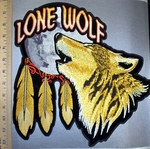 4539 CP -    Lone Wolf - Howling Wolf Within Moon And Feathers - Back Patch - Embroidery Patch