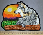 4542 CP -  Wolf With Cubs And Sunset - Back Patch - Embroidery Patch