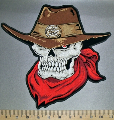4543 CP - Sheriff Skullman With Cowboy Hat - Red Bandana - Back Patch - Embroidery Patch