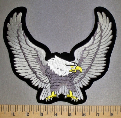 4544 S - Silver Winged Eagle - Medium - Embroidery Patch