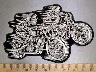4550 G - Dual Skull Riders On Motorcycles - Back Patch - Embroidery Patch