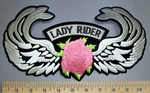 4552 S - Lady Rider With Angel Wings - Pink Rose - Embroidery Patch