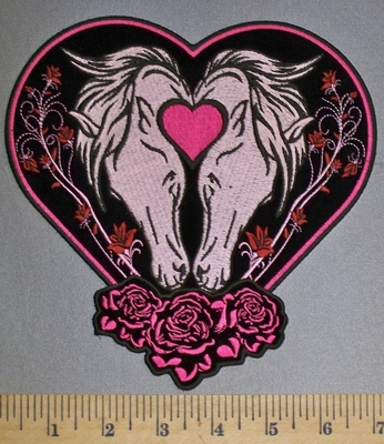 4554 CP - Two Horses Within Heart With Roses - Back Patch - Embroidery Patch