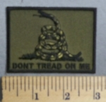 4561 CP - Don't Tread On Me -Army Green Background - White Snake - Embroidey Patch