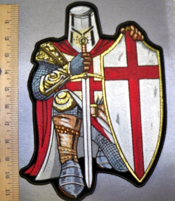 4564 CP - Red Crusader Knight - With Sword And Shield - Full Armor - Back Patch - Embroidery Patch