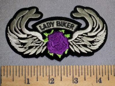 4565 S - Lady Rider With Purple Rose And Angel Wings - Embroidery Patch