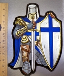 4566 CP - Blue Crusader Knight - With Sword And Shield - Full Armor - Back Patch - Embroidery Patch