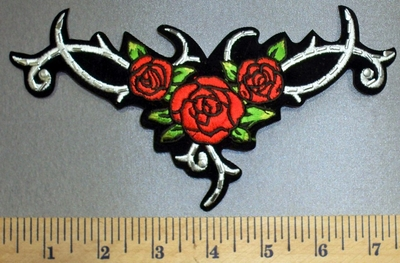 4568 S - Celtic Design With red Roses - Silver Studs - Embroidery Patch
