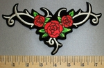 4569 S - Celtic Design With Red Roses - Embroidery Patch