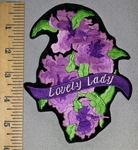 4574 S - Lovely Lady With Iris Flowers - Embroidery Patch