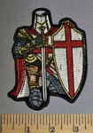 4582 CP - Red Crusader Knight - Sword And Shield - Full Armor - Embroidery Patch