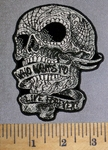 4598 G - Who Wants To Live Forever Ribbon In Mouth Of Skull - Embroidery Patch