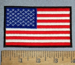 4616 CP - American Flag With Black Border - 4 Inch - Embroidery Patch