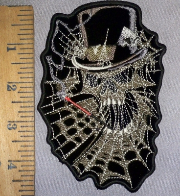 4618 N - Skull With Tophat - Smoking  Cigarette Within A Spiders Web - Embroidery Patch
