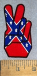 4623 CP- Finger Peace Sign In Confederate Flag Design - Embroidery Patch