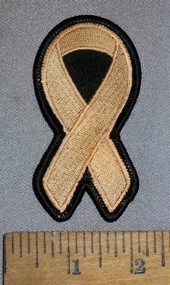 4640 S - Vaginal, Endometrial And Uterine Cancer Ribbon - Tan - Embroidery Patch