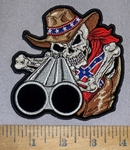 4643 CP - Confederate Cowboy Skullman With Shotgun - Confederate Bandana - Embroidery Patch