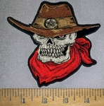 4644 CP - Sheriff Skullman With Cowboy Hat - Bandana - Embroidery Patch
