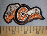 4653 S - Broken Wings With Wheel - Embroidery Patch