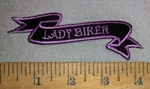 4655 S - Lady Biker - Wavy Mini Rocker - Purple - Embroidery Patch