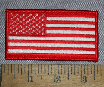 4657 S - Red And White American Flag - Embroidery Patch
