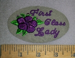 4659 S - First Class Lady - With Purple Flower - Oval Patch - Embroidery Patch