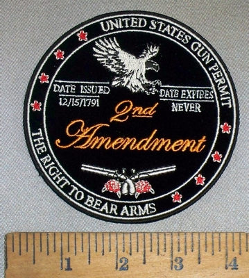 4683 CP - United States Gun Permit - The Right To Bear Arms - 2nd Amendment - Round- Embroidery Patch
