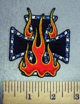4695 N - Iron Cross - Chopper Logo With Bike Chain Links With Fire - Embroidery Patch