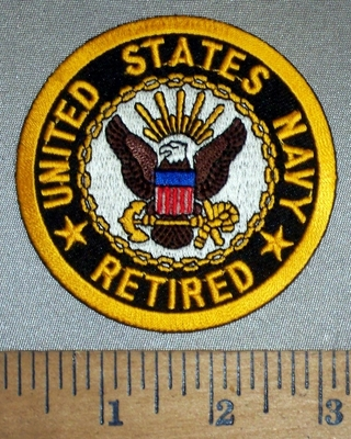 4698 CP - United States Navy - Retired - Round - Embroidery Patch