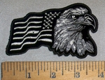 4705 CP - Bald Eagle With American Flag - Right Side - Black And White - Embroidery Patch